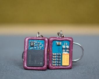 Polymer clay earrings Techie earrings Small Cyberpunk earrings Upcycled earrings Geek earrings Dark Purple earrings Circuit board earrings