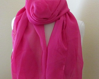 Hand Dyed Pink Silk Scarf