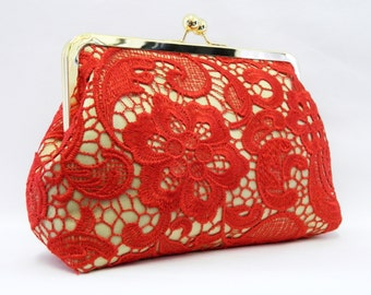 Red Lace Clutch, Red Clutch, Red and Gold Lace Clutch, Red Bridal clutch, Wedding Clutch Purse, Bridesmaid Clutch, Evening Clutch