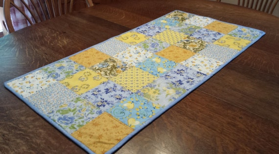 Quilted Table Runner, country table runner, patchwork runner, 36 x 18, country floral fabrics, blue, yellow, white