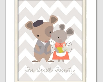 New mom gift, Personalized family name, New baby, Nursery Art, Mice Family, New family