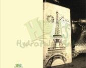 Eiffel Tower Greeting Card Printable Side Fold Blank Inside Black White Sepia Steampunk Victorian Stationery Paris Scene DIY Paper Crafts