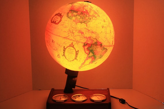 Vintage Scan Globe A S Denmark World Discoverer Illuminated