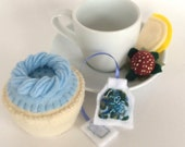 Felt Food: Tea Set -- Felt Blueberry Vanilla Cupcake, Blue Tea Bag, Lemon and Strawberry, children's pretend play, tea set, or gift