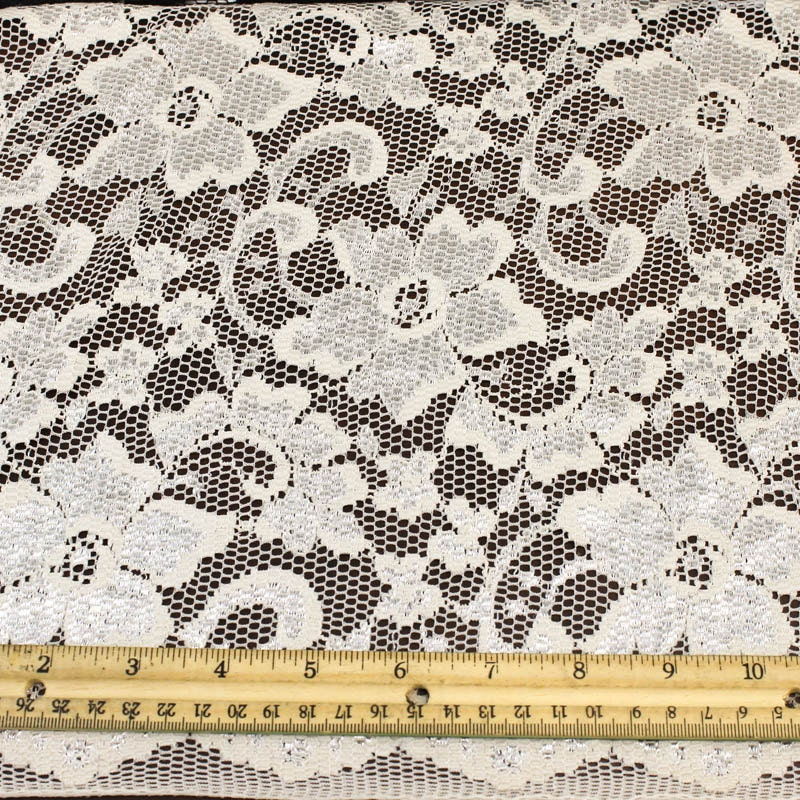 Tan stretch nylon scallop lace fabric by the yard or wholesale for Cheap fabric by the yard