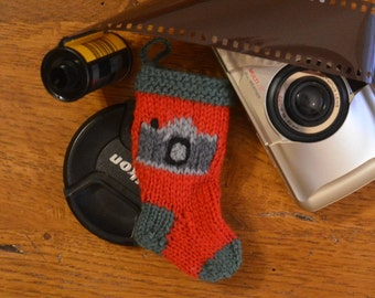 Camera Hand-Knit Christmas Stocking Ornament - Photographer  Camera Ornament