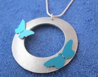 Two butterflies aluminium necklace