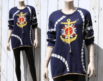 80s Ahoy Sailor Girl nautical anchor sweater -