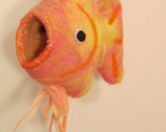 Whimsical Felted Fish Birdhouse