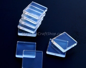 50 - 1 inch square clear glass tiles for pendants and magnets. (1SQFCAB)