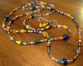 Czech Glass Bead Long Necklace and Earring set, Multicolored Blue, Yellow, Pink, Green, Gold