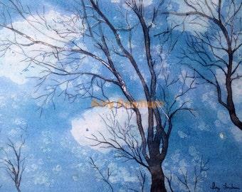 Skyward - Print - Blue Sky Watercolor Painting Art, Sky Through Trees Art, Looking Up Art, Forest Sky Painting Art, Clouds Sky Painting Art