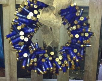 Blue Shotgun Shell Wreath