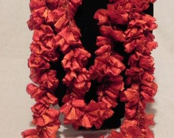 Shimmery Rust Ribbon Crochet Ruffle Scarf