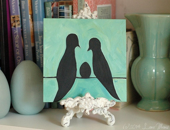 Original Acrylic Painting - Eggspecting - Birds on a Wire - Egg, Silhouette, Couple, Family, Baby - Black Aqua Mint