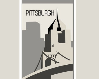Pittsburgh - Illustration black and white original - 11 x 17