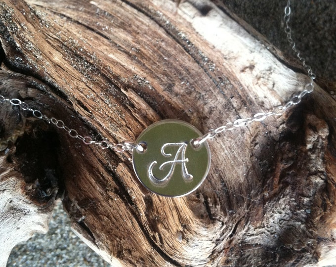Silver Monogram Necklace, Initial Necklace, Sterling Silver