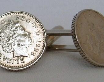 Boxed Pair  British 1998 Five Pence Penny Coin Cufflinks Wedding Birthday Anniversary