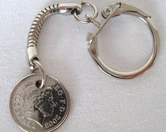 2003 British Five Pence Coin Keyring Key Chain Fob Queen Elizabeth II