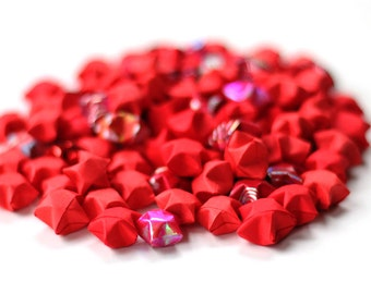Red lucky stars - handfolded origami stars 100 pieces - handmade Japanese paper stars
