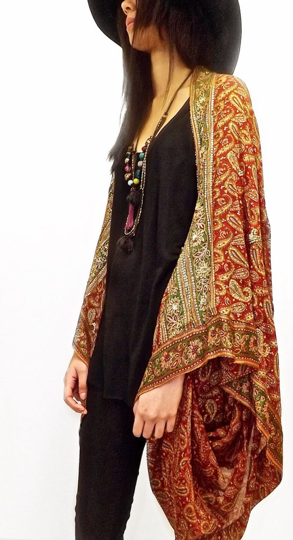 Silk beaded Kimono jacket / Shrug / cover up