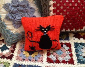 Halloween Cat Pillow Hand-Knitted in Orange and Black with Little Spider