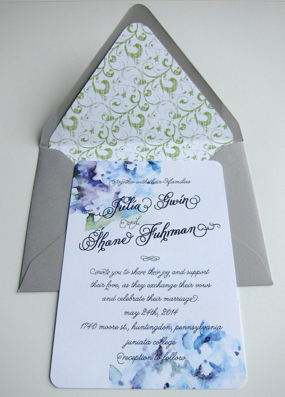 Purple hydrangea wedding invitation sample -  Hydrangea Wedding Invitation Suite Blue Wedding Invitations Watercolor Wedding Invitations