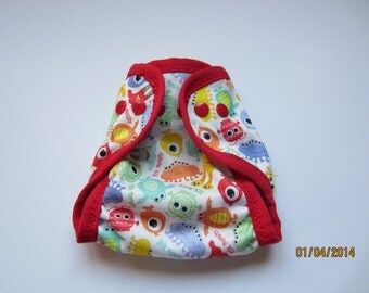 Newborn PUL Monster Cloth Diaper Cover with Gussets