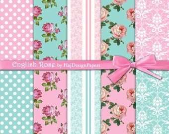"""Shabby chic digital paper : """"English Rose"""" floral digital paper on pink and blue background, lace, damask and polka dot, decoupage paper"""
