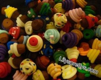 Handmade Polymer Fimo Clay Cupcake Cake Beads