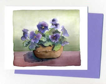 Pansies in a Pot  Note Card Watercolor