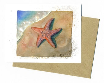 Starfish Note Card Original Watercolor Sea art