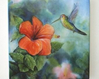 Hummingbird Tile Trivet Original Watercolor