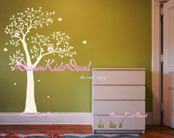 Wall decals nursery wall decals Kids decal girl kids wall decals wall sticker wall decor-Owls sit on tree-DK153