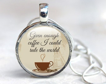 Coffee Necklace, Gift for coffee lover, Java jewellery, Quote Pendant Necklace, photo pendant, humour jewellery, gift, necklace, typography