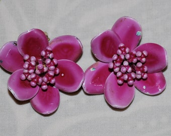 Magenta Flower Clip Earrings