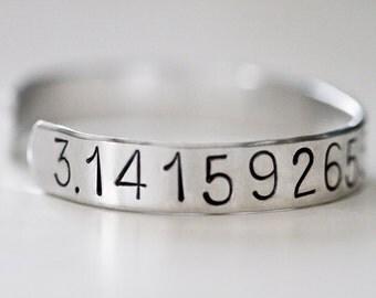 Pi Bracelet, 3.14, Cuff Bracelet, Metal Stamped, Math Jewelry