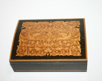 Vintage/antique beautiful homemade wood inlaid stacking boxes