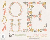 Floral letters H O E, flower type, alphabet, clip art, vector, room decoration, initials, monograms, wreaths, invitation, birthday gift
