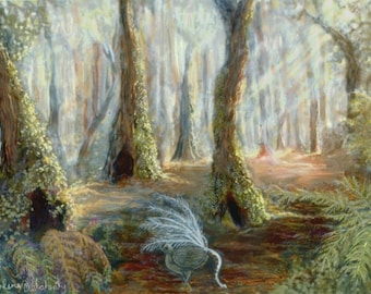 Lyrebird In Sherbrooke Forest Painting - A3 Print