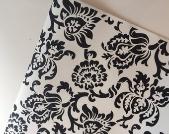 Black & White Floral Wrapping Paper 30 inches x 12 feet, Black and White Gift Wrap, Flower Gift Wrap, Flower wrapping paper, black gift wrap