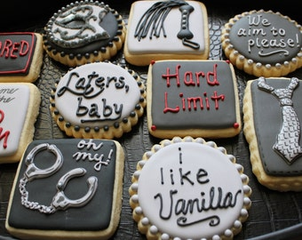 50 Shades of Grey Cookies, OPTION 1,  Valentine's Day Cookie, Fifty Shades, Custom Cookies, Bachelorette Cookies, Christian Grey