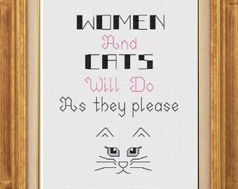 PDF pattern - Women and cats