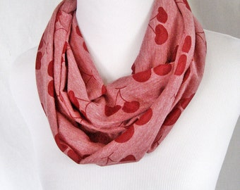 Red Cherries on Heather Red Medium Length Jersey Knit Infinity Scarf - ChevronScarf
