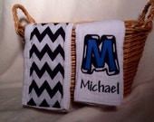 Custom Black and White Chevron Baby Boy Burp Cloth, Embroidered Initial and Name - Set of 2