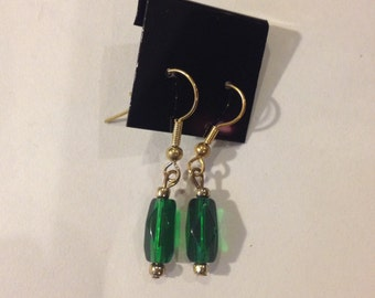 Green Fish Hook Earrings