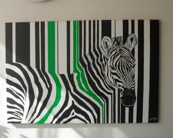 60 x 90 cms striped zebra picture.