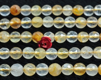 62 pcs of Citrine faceted round beads in 6mm