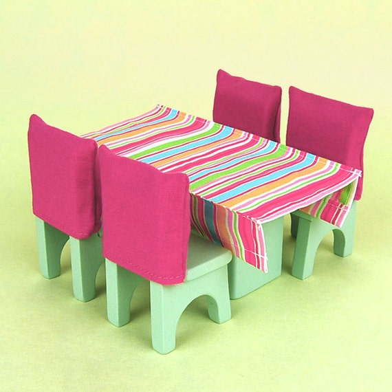 Wooden Dollhouse Furniture Dining Room Set
