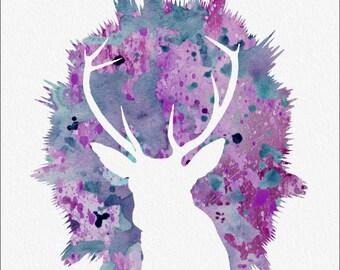 DEER Watercolor Painting Art Print  5 x 7 Archival Watercolor Painting Print Buck  Deer, Home, Childrens'  Room, Nursery  Purple and Blue